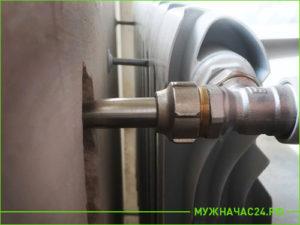 Результат установки радиатора отопления в квартире