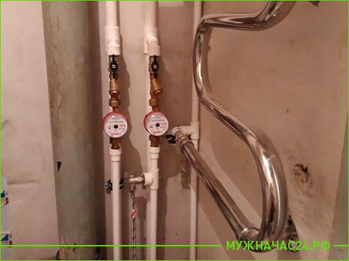 Установка счетчика воды на пластиковые трубы