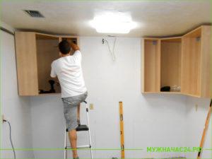 Установка кухонного гарнитура со шкафами
