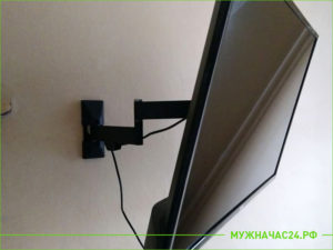 Выполненная работа по установке подставки под ТВ на стену